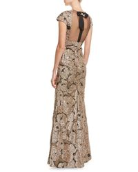 Lela Rose | Metallic Tinsel Jacquard Tulle-inset Column Gown With Detachable Brooch | Lyst