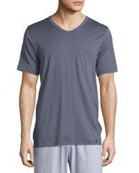 Hanro - Blue Night & Day Short-sleeve Tee W/pocket for Men - Lyst