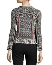 Oscar de la Renta - Black Collarless Tweed Jacket With Fringe Trim - Lyst