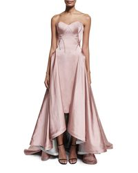 Zac Posen - Pink Strapless Pleated High-low Gown - Lyst