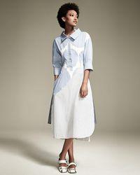 Stella McCartney   Blue Striped 3/4-sleeve Shirtdress   Lyst
