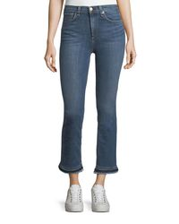Rag & Bone Blue Hana High-rise Cropped Boot Jeans W/ Frayed Hem