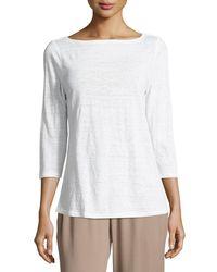 Eileen Fisher | White 3/4-sleeve Organic Linen Jersey Top | Lyst