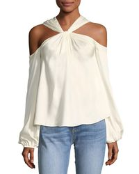 Elizabeth and James - White Minnie Twist-front Long-sleeve Blouse - Lyst