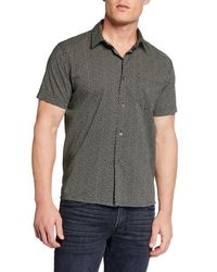 John Varvatos White Men's Jasper Short-sleeve Sport Shirt for men