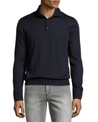 Isaia - Blue Cashmere-silk Long-sleeve Polo Shirt for Men - Lyst