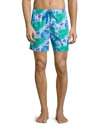 Vilebrequin - Blue Moorea Globe & Turtle Printed Swim Trunks for Men - Lyst