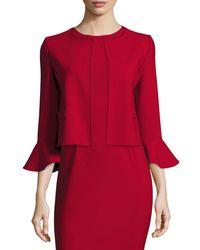 Oscar de la Renta | Red Flounce-sleeve Cropped Jacket | Lyst