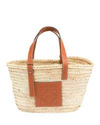 Loewe - Brown Large Raffia Basket Tote Bag - Lyst