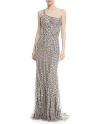 Naeem Khan - Metallic One-shoulder Embellished Sequin Evening Gown - Lyst