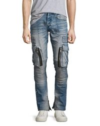 PRPS - Blue Windsor Skinny Moto Cargo Jeans With Paint for Men - Lyst