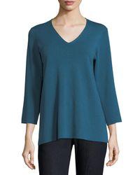 Eileen Fisher - Blue 3/4-sleeve Merino V-neck Top - Lyst