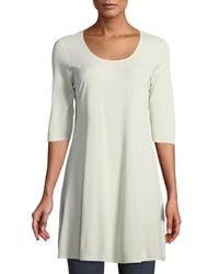 Eileen Fisher - Black Half-sleeve Silk Jersey Tunic Petite - Lyst
