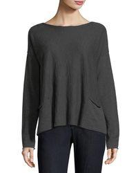 Eileen Fisher - Gray Organic Linen-blend Box Top - Lyst