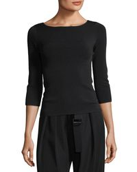 Vince - Black U-back 3/4-sleeve Top - Lyst