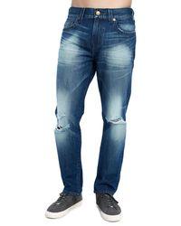 True Religion - Blue Men's Geno Distressed Straight-leg Jeans for Men - Lyst