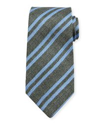 Kiton | Blue Chambray Striped Silk Tie for Men | Lyst
