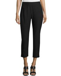 Eileen Fisher - White Washable Stretch Crepe Cropped Pants - Lyst