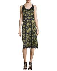 Michael Kors | Green Lace-inset Floraflage-print Tank Dress | Lyst