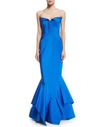 Zac Posen - Blue Strapless Sweetheart-neck Trumpet Gown - Lyst