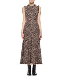 Alexander McQueen | Multicolor Wishing Tree Tweed Sleeveless Midi Dress | Lyst