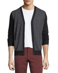 Neiman Marcus Gray Cashmere Colorblock V-neck Cardigan for men