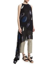 Adam Lippes - Black Sleeveless Pleated Asymmetric Gown - Lyst