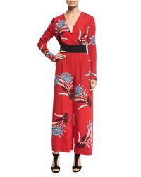 Diane von Furstenberg - Red Floral Jumpsuit - Lyst