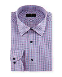 Ike Behar - Blue Gold Label Micro-check Cotton Dress Shirt for Men - Lyst