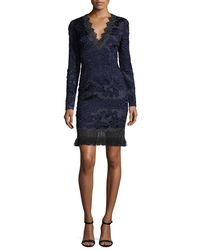 Elie Tahari - Blue Camden Long-sleeve Lace Dress W/ Fringe Hem - Lyst