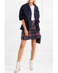 Miu Miu Blue Pleated Tartan Wool-tweed Mini Skirt