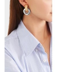 Kenneth Jay Lane - Metallic Gold And Rhodium-plated Clip Earrings - Lyst