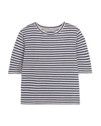 Vince - Blue Striped Silk-blend Jersey T-shirt - Lyst