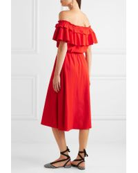 J.Crew | Red Poppy Off-the-shoulder Ruffled Cotton And Linen-blend Dress | Lyst