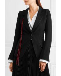 Ann Demeulemeester | Black Lace And Velvet-trimmed Wool-blend Gabardine Blazer | Lyst