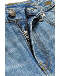 R13 - Blue Cropped Distressed Mid-rise Flared Jeans - Lyst