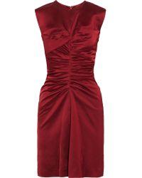 Isabel Marant - Red Esta Ruched Satin Dress - Lyst