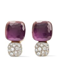 Pomellato | Multicolor Nudo Solitaire 18-karat Rose Gold, Amethyst And Diamond Earrings | Lyst
