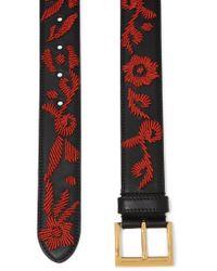 Prada - Black Embroidered Leather Belt - Lyst