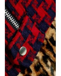 Junya Watanabe - Red Paneled Patterned Wool-blend, Faux Fur And Faux Leather Coat - Lyst