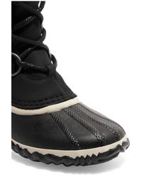 Sorel - Black Caribou Slim Waterproof Nubuck And Rubber Boots - Lyst