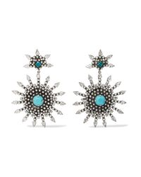 DANNIJO - Metallic Delano Oxidized Silver-plated, Swarovski Crystal And Turquoise Earrings - Lyst