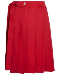 Miu Miu - Red Pleated Cotton-poplin Wrap Skirt - Lyst