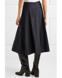 Jil Sander - Blue Flared Wool-blend Midi Skirt - Lyst