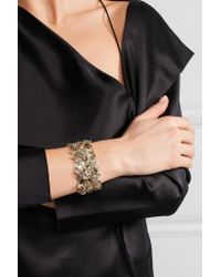 Lanvin - Metallic Gold-tone Swarovski Crystal Bracelet - Lyst