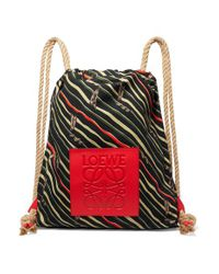 Loewe - Black Paula's Ibiza Yago Leather-trimmed Printed Cotton-canvas Backpack - Lyst