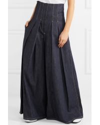 Brunello Cucinelli - Blue Pleated High-rise Wide-leg Jeans - Lyst