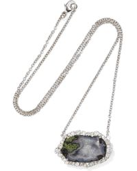 Kimberly Mcdonald - Metallic 18-karat White Gold, Geode And Diamond Necklace White Gold One Size - Lyst