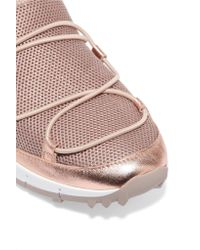 Jimmy Choo - Andrea Metallic Leather-trimmed Mesh Slip-on Sneakers - Lyst
