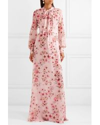 Giambattista Valli - Pink Pussy-bow Floral-print Silk-georgette Gown - Lyst